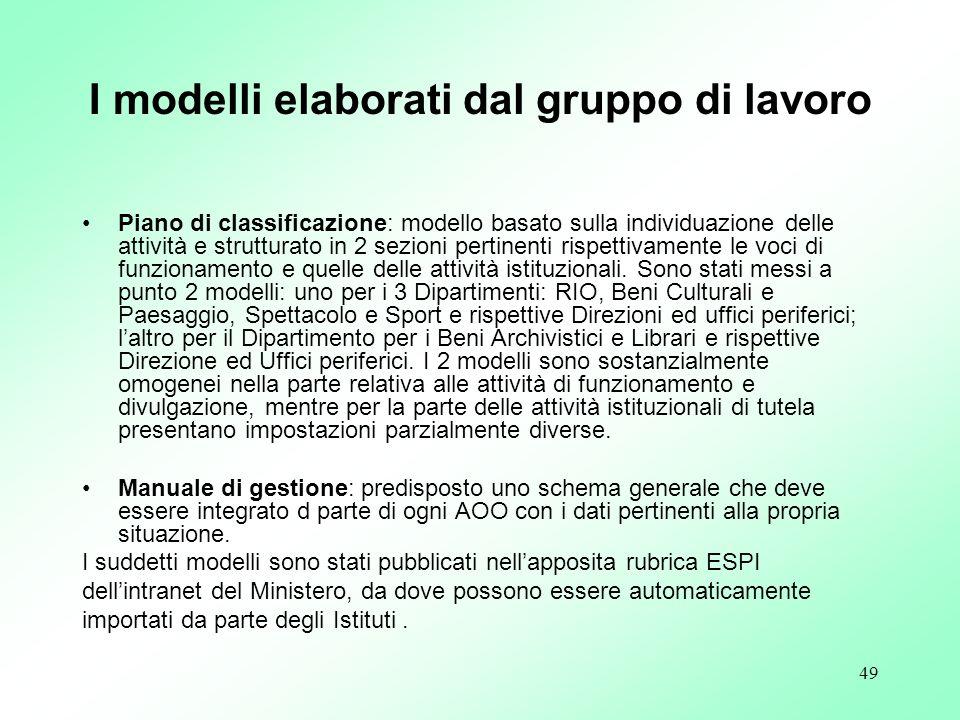 49 I modelli elaborati dal gruppo di lavoro Piano di classificazione: modello basato sulla individuazione delle attività e strutturato in 2 sezioni pe