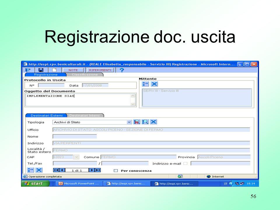 56 Registrazione doc. uscita