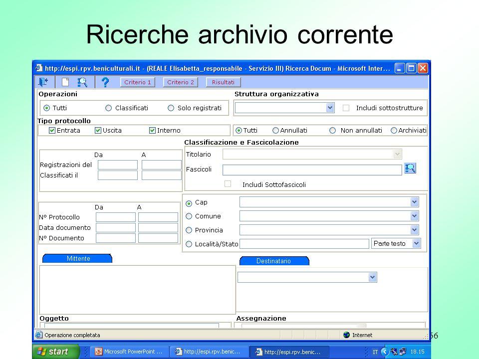 66 Ricerche archivio corrente