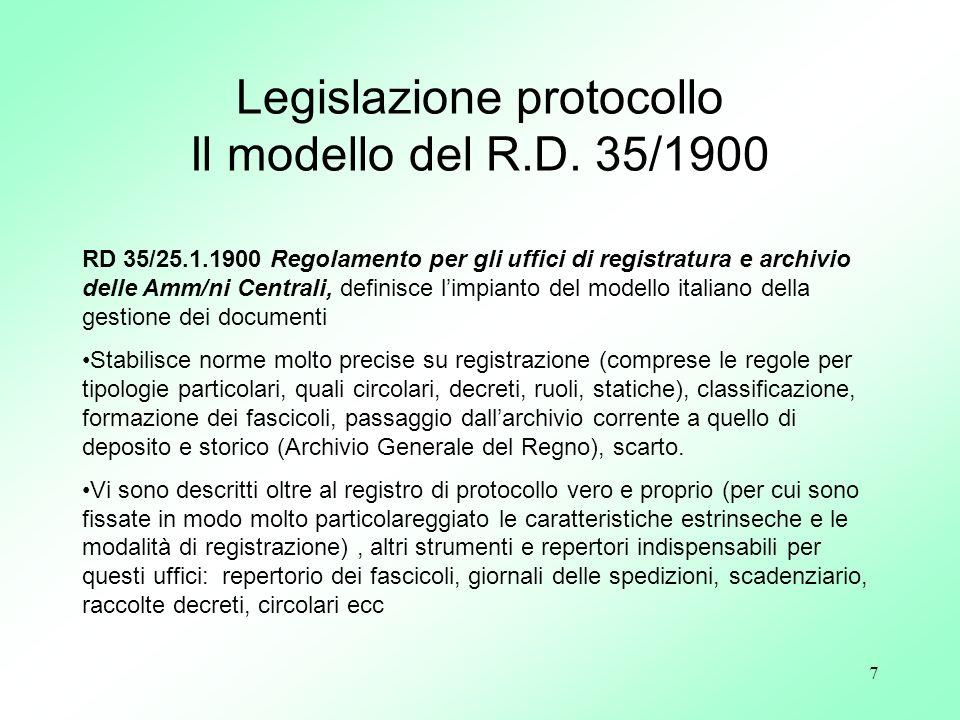 7 RD 35/25.1.1900 Regolamento per gli uffici di registratura e archivio delle Amm/ni Centrali, definisce limpianto del modello italiano della gestione