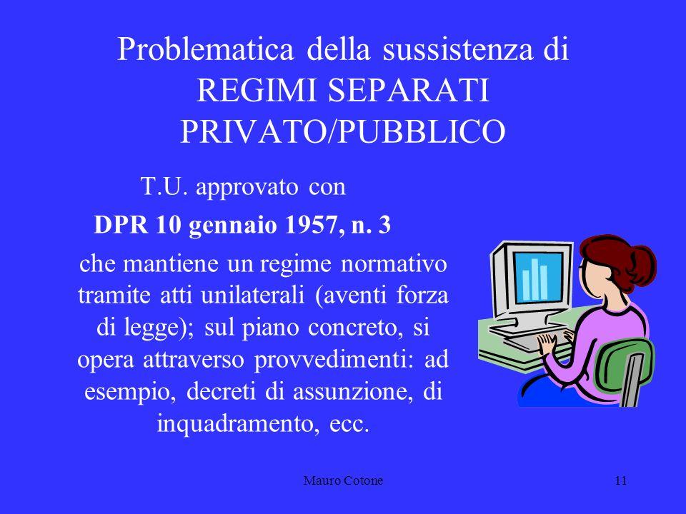Mauro Cotone10 Problematica della sussistenza di REGIMI SEPARATI PRIVATO/PUBBLICO Fonti di riferimento nellIMPIEGO PUBBLICO: DISPOSIZIONI DI LEGGE T.U.