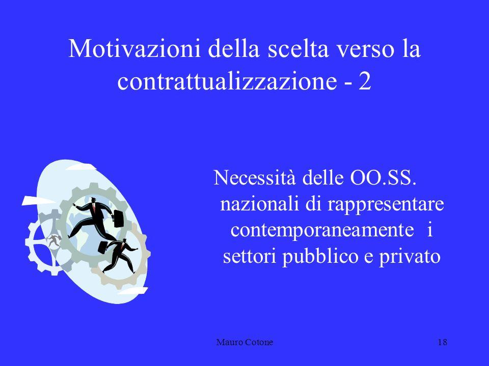 Mauro Cotone17 Motivazioni della scelta verso la contrattualizzazione - 1 Constatazione del fallimento della L.