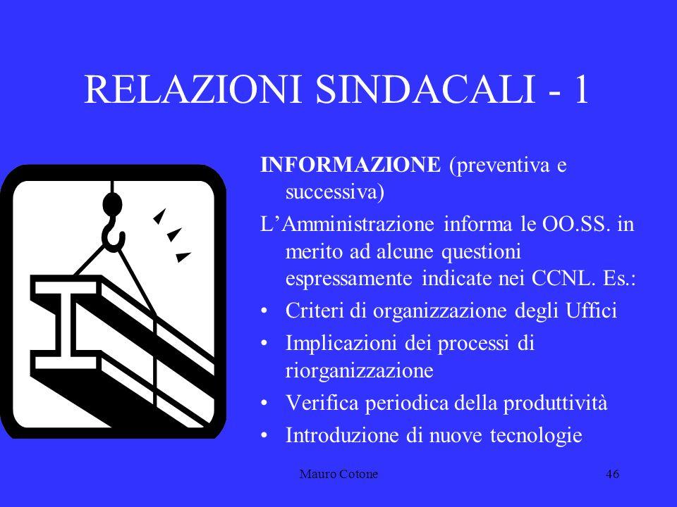 Mauro Cotone45 IL SISTEMA DELLE RELAZIONI SINDACALI LA.RA.N.