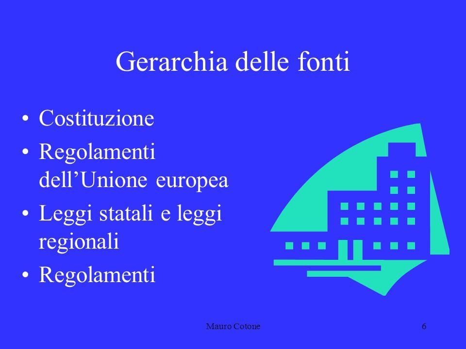 Mauro Cotone5 Gerarchia delle fonti Per fonti del diritto si intendono le disposizioni che creano norme astratte e generali, le quali possono introdurre modifiche nellordinamento.