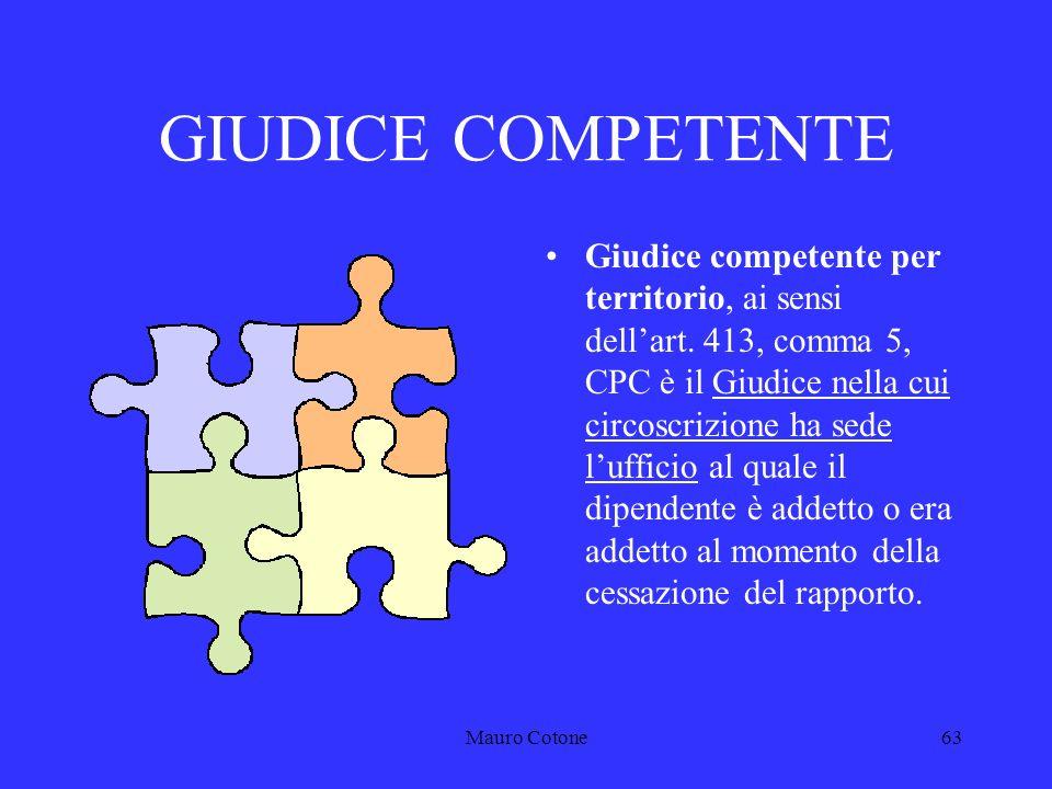 Mauro Cotone62 GIURISDIZIONE DEL GIUDICE ORDINARIO Art.