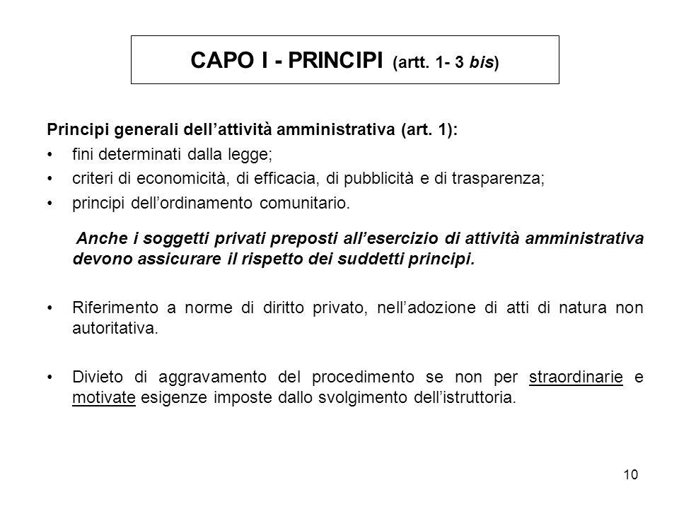 10 Principi generali dellattività amministrativa (art.