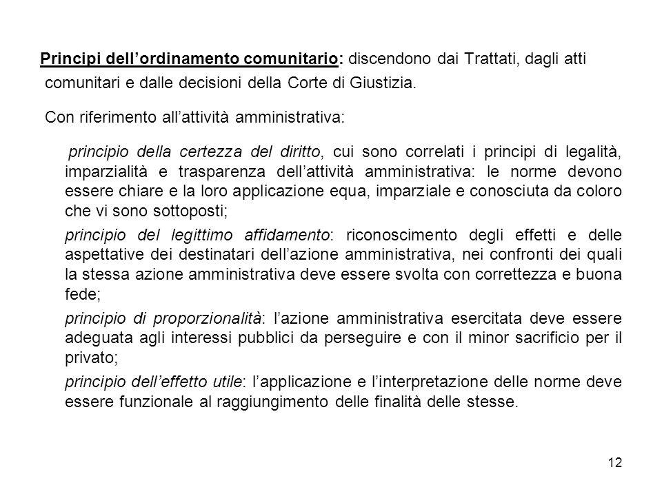 12 Principi dellordinamento comunitario: discendono dai Trattati, dagli atti comunitari e dalle decisioni della Corte di Giustizia.
