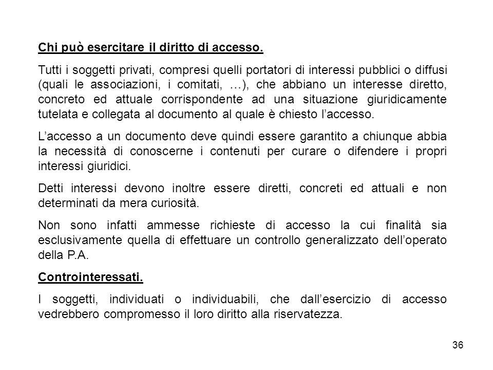 36 Chi può esercitare il diritto di accesso.