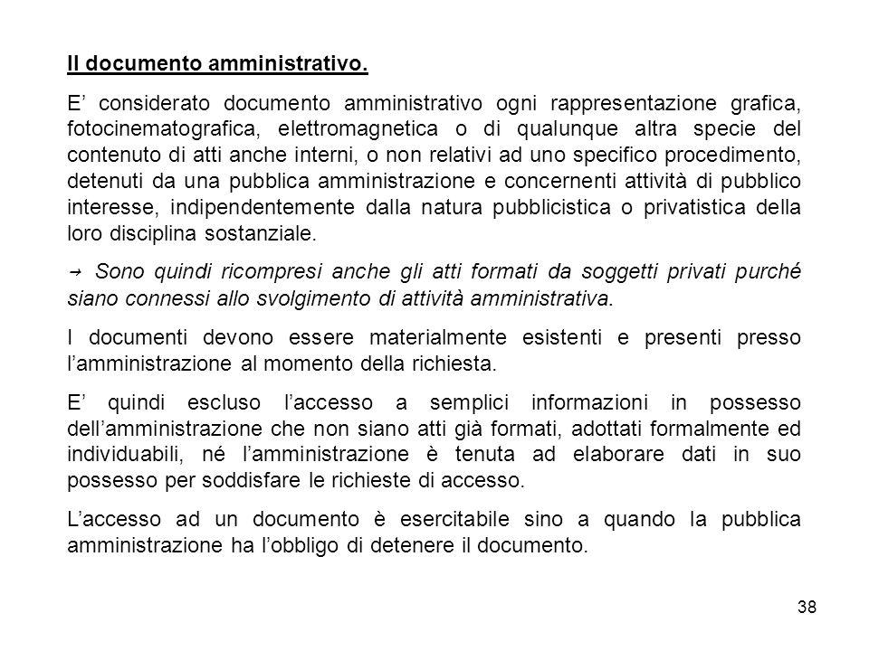38 Il documento amministrativo.