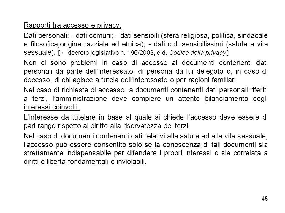 45 Rapporti tra accesso e privacy.