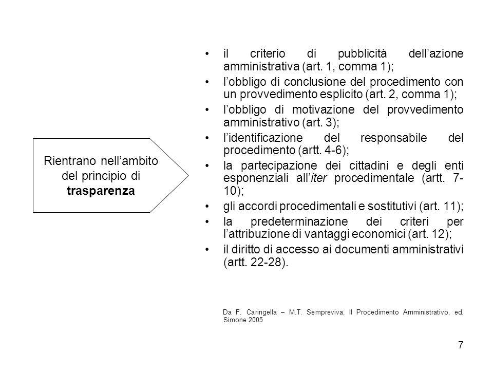 8 i criteri di economicità e di efficacia (art.