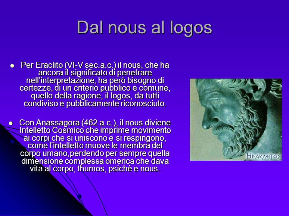 Dal nous al logos Per Eraclito (VI-V sec.a.c.) il nous, che ha ancora il significato di penetrare nellinterpretazione, ha però bisogno di certezze, di