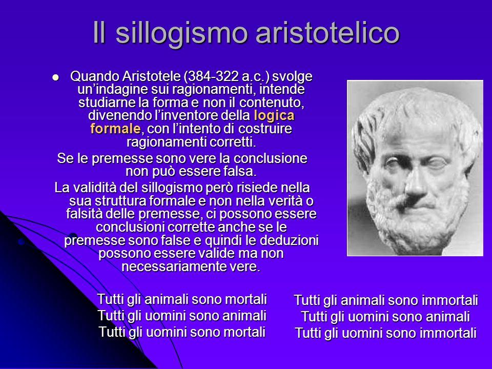 Il sillogismo aristotelico Quando Aristotele (384-322 a.c.) svolge unindagine sui ragionamenti, intende studiarne la forma e non il contenuto, divenen