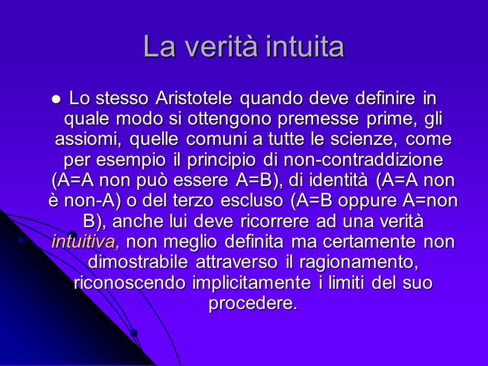 La verità intuita Lo stesso Aristotele quando deve definire in quale modo si ottengono premesse prime, gli assiomi, quelle comuni a tutte le scienze,