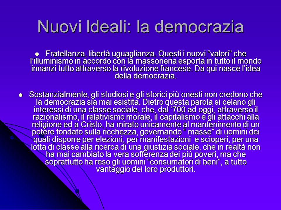 Nuovi Ideali: la democrazia Fratellanza, libertà uguaglianza. Questi i nuovi valori che lilluminismo in accordo con la massoneria esporta in tutto il