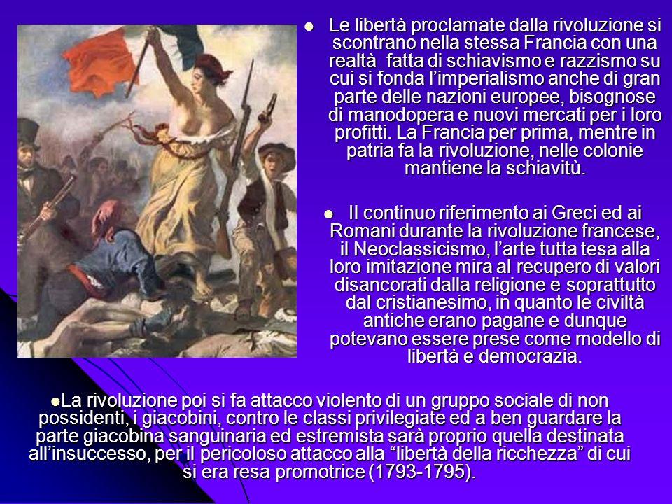Le libertà proclamate dalla rivoluzione si scontrano nella stessa Francia con una realtà fatta di schiavismo e razzismo su cui si fonda limperialismo