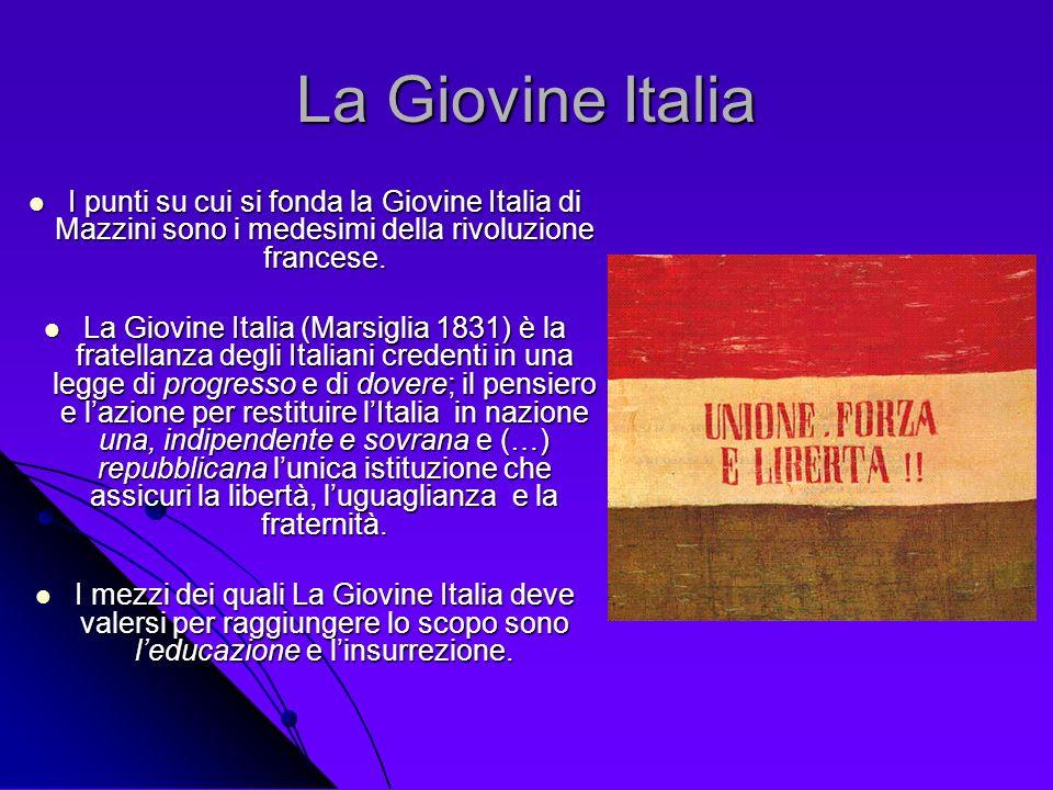 La Giovine Italia I punti su cui si fonda la Giovine Italia di Mazzini sono i medesimi della rivoluzione francese. I punti su cui si fonda la Giovine