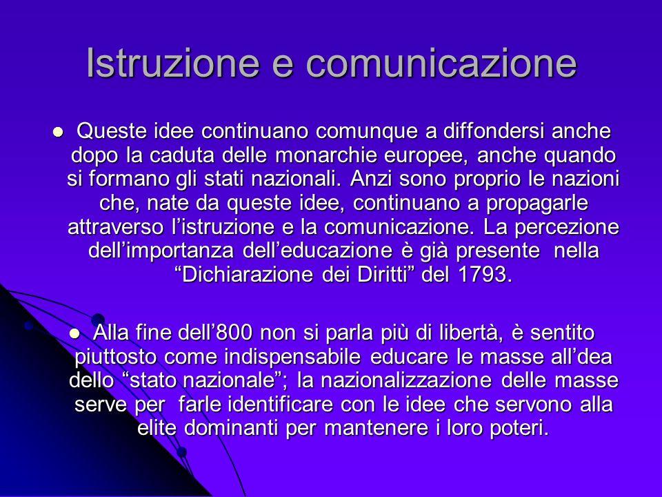 Istruzione e comunicazione Queste idee continuano comunque a diffondersi anche dopo la caduta delle monarchie europee, anche quando si formano gli sta
