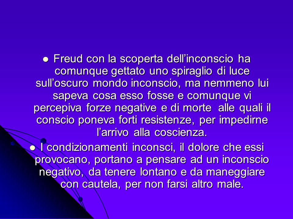 Freud con la scoperta dellinconscio ha comunque gettato uno spiraglio di luce sulloscuro mondo inconscio, ma nemmeno lui sapeva cosa esso fosse e comu