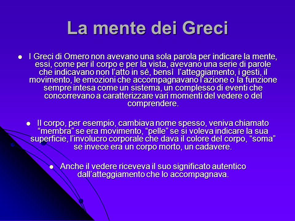 La mente dei Greci I Greci di Omero non avevano una sola parola per indicare la mente, essi, come per il corpo e per la vista, avevano una serie di pa