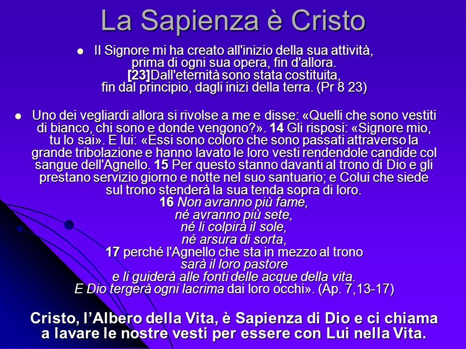 La Sapienza è Cristo Il Signore mi ha creato all'inizio della sua attività, prima di ogni sua opera, fin d'allora. [23]Dall'eternità sono stata costit