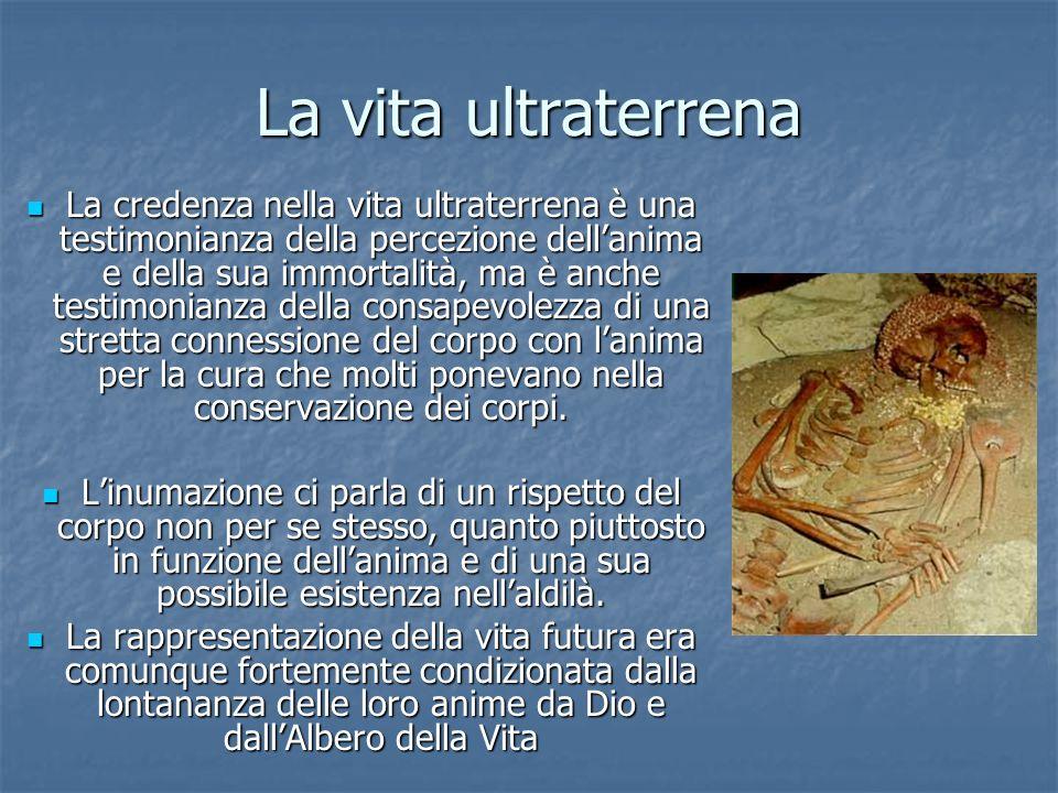 La vita ultraterrena La credenza nella vita ultraterrena è una testimonianza della percezione dellanima e della sua immortalità, ma è anche testimonia
