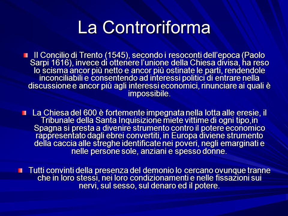 La Controriforma Il Concilio di Trento (1545), secondo i resoconti dellepoca (Paolo Sarpi 1616), invece di ottenere lunione della Chiesa divisa, ha re