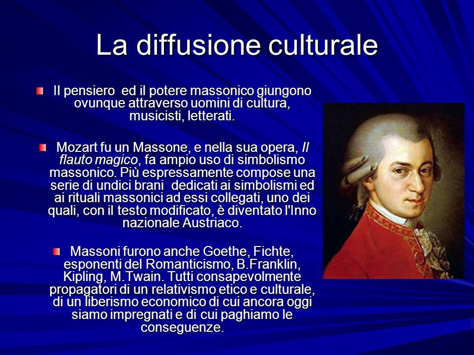 La diffusione culturale Il pensiero ed il potere massonico giungono ovunque attraverso uomini di cultura, musicisti, letterati. Mozart fu un Massone,