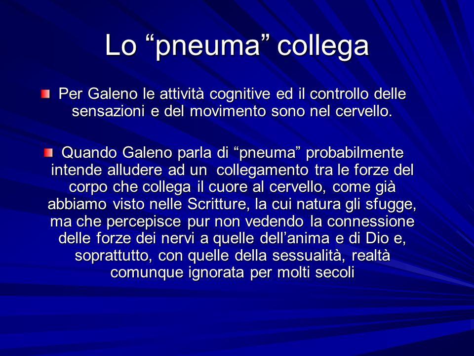 Lo pneuma collega Per Galeno le attività cognitive ed il controllo delle sensazioni e del movimento sono nel cervello. Quando Galeno parla di pneuma p
