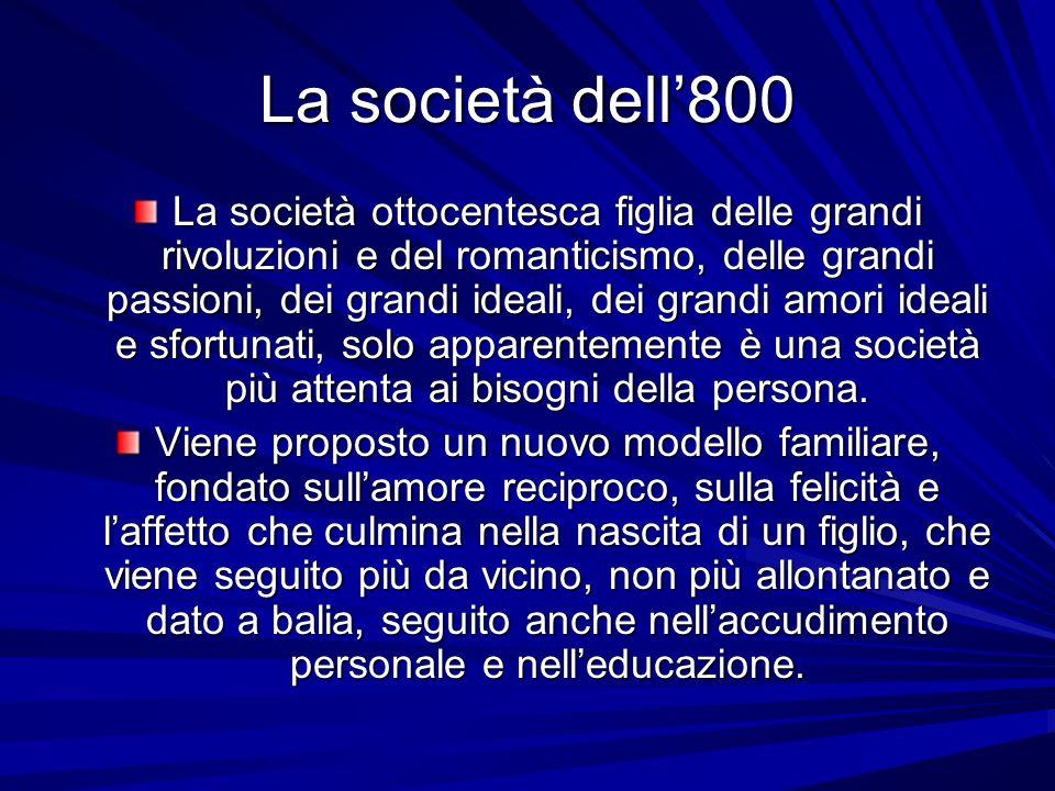 La società dell800 La società ottocentesca figlia delle grandi rivoluzioni e del romanticismo, delle grandi passioni, dei grandi ideali, dei grandi am