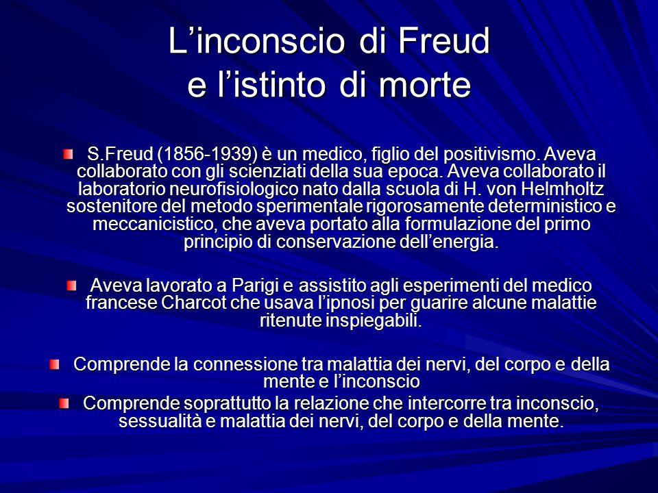 Linconscio di Freud e listinto di morte S.Freud (1856-1939) è un medico, figlio del positivismo. Aveva collaborato con gli scienziati della sua epoca.