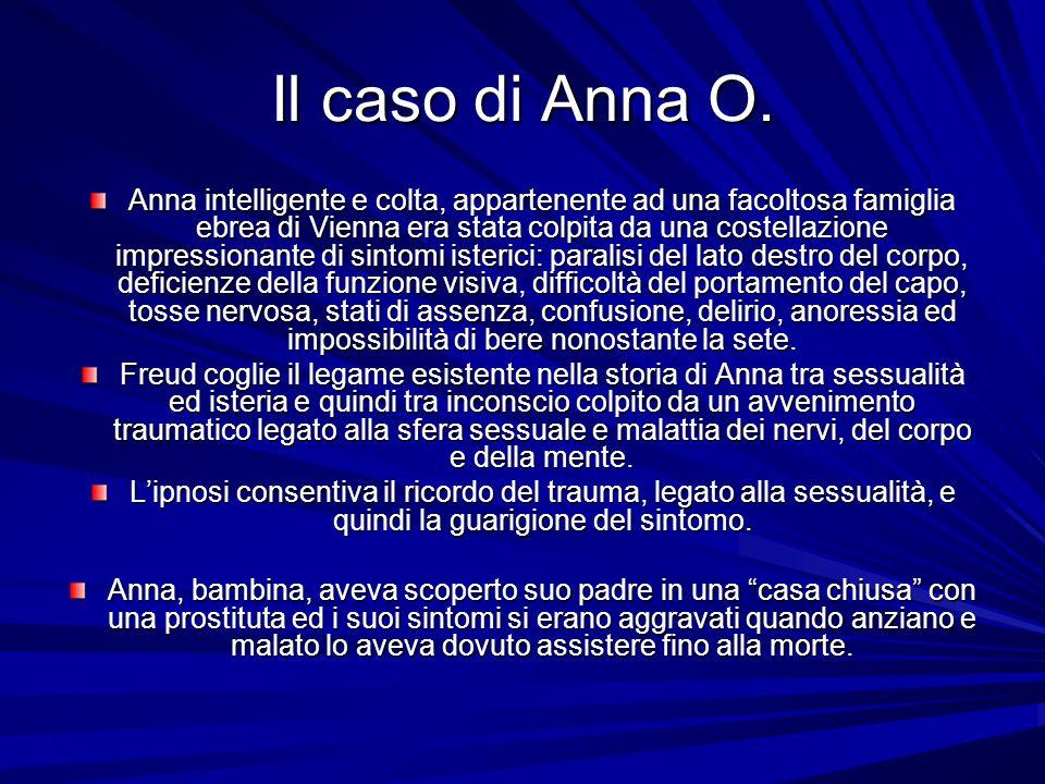 Il caso di Anna O. Anna intelligente e colta, appartenente ad una facoltosa famiglia ebrea di Vienna era stata colpita da una costellazione impression