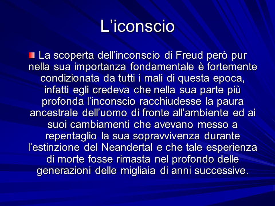 Liconscio La scoperta dellinconscio di Freud però pur nella sua importanza fondamentale è fortemente condizionata da tutti i mali di questa epoca, inf