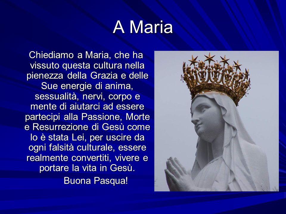 A Maria Chiediamo a Maria, che ha vissuto questa cultura nella pienezza della Grazia e delle Sue energie di anima, sessualità, nervi, corpo e mente di