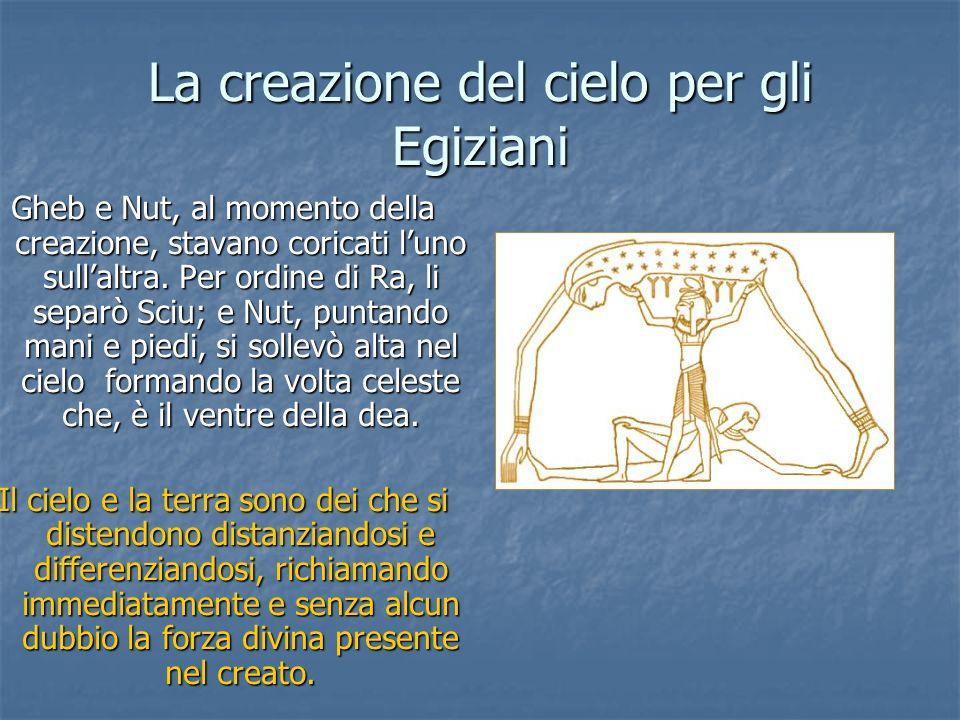 La creazione del cielo per gli Egiziani Gheb e Nut, al momento della creazione, stavano coricati luno sullaltra. Per ordine di Ra, li separò Sciu; e N