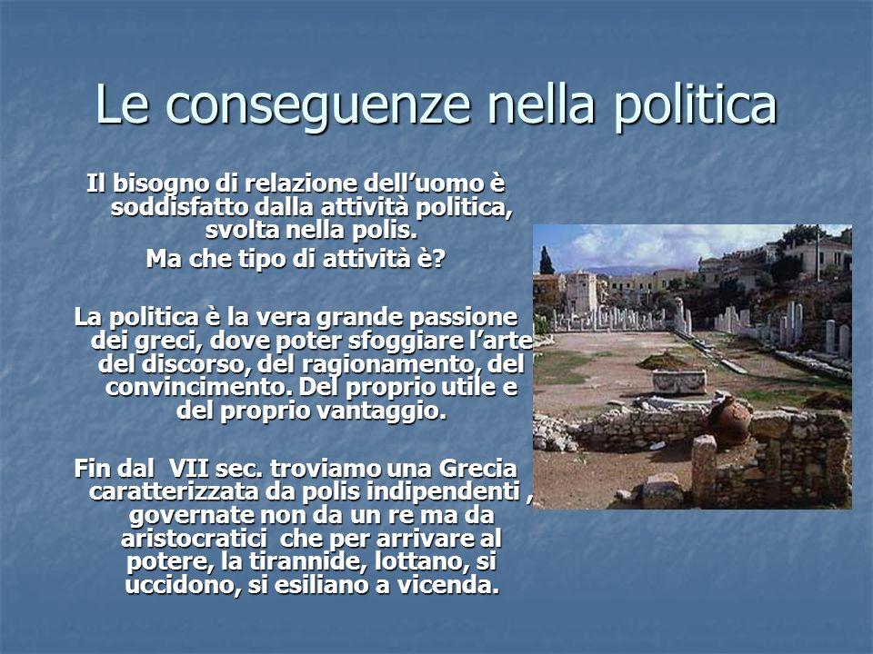 Le conseguenze nella politica Il bisogno di relazione delluomo è soddisfatto dalla attività politica, svolta nella polis. Ma che tipo di attività è? L
