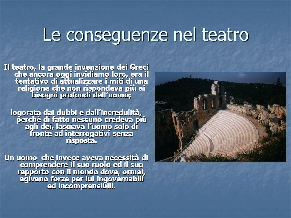 Le conseguenze nel teatro Il teatro, la grande invenzione dei Greci che ancora oggi invidiamo loro, era il tentativo di attualizzare i miti di una rel