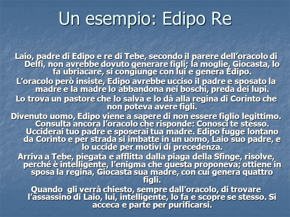 Un esempio: Edipo Re Laio, padre di Edipo e re di Tebe, secondo il parere delloracolo di Delfi, non avrebbe dovuto generare figli; la moglie, Giocasta
