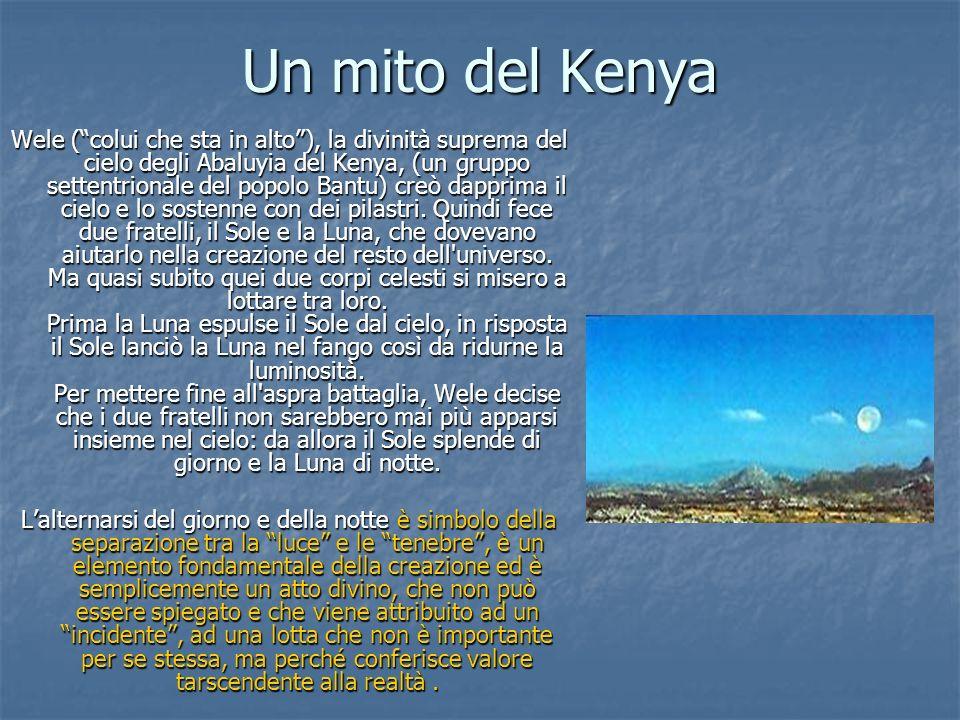 Un mito del Kenya Wele (colui che sta in alto), la divinità suprema del cielo degli Abaluyia del Kenya, (un gruppo settentrionale del popolo Bantu) cr