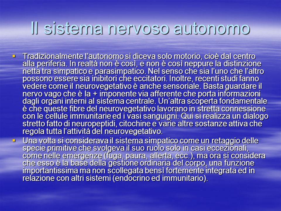 Il sistema nervoso autonomo Tradizionalmente lautonomo si diceva solo motorio, cioè dal centro alla periferia. In realtà non è così, e non è così nepp