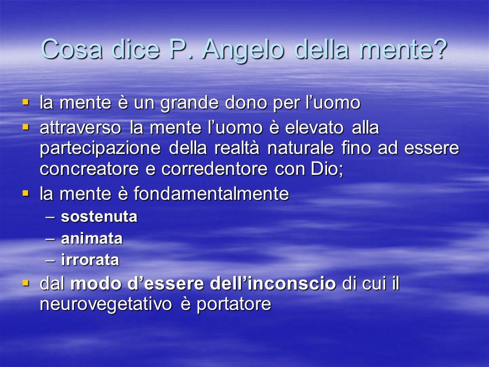 Cosa dice P. Angelo della mente? la mente è un grande dono per luomo la mente è un grande dono per luomo attraverso la mente luomo è elevato alla part