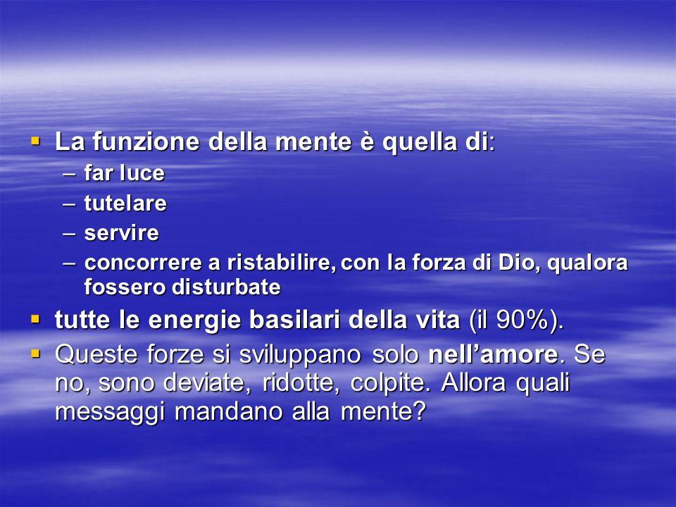 La funzione della mente è quella di: La funzione della mente è quella di: –far luce –tutelare –servire –concorrere a ristabilire, con la forza di Dio,