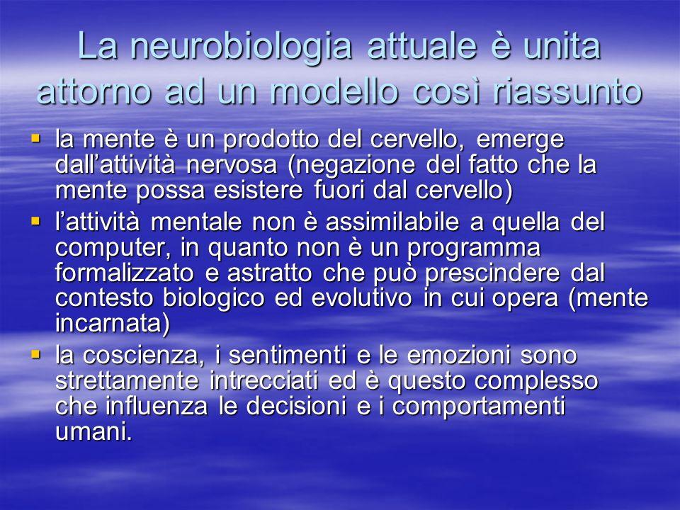 La neurobiologia attuale è unita attorno ad un modello così riassunto la mente è un prodotto del cervello, emerge dallattività nervosa (negazione del