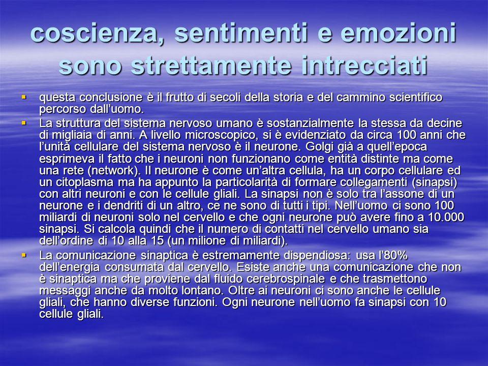 coscienza, sentimenti e emozioni sono strettamente intrecciati questa conclusione è il frutto di secoli della storia e del cammino scientifico percors