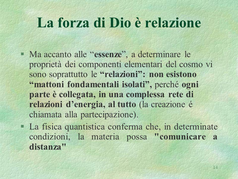 14 La forza di Dio è relazione §Ma accanto alle essenze, a determinare le proprietà dei componenti elementari del cosmo vi sono soprattutto le relazio