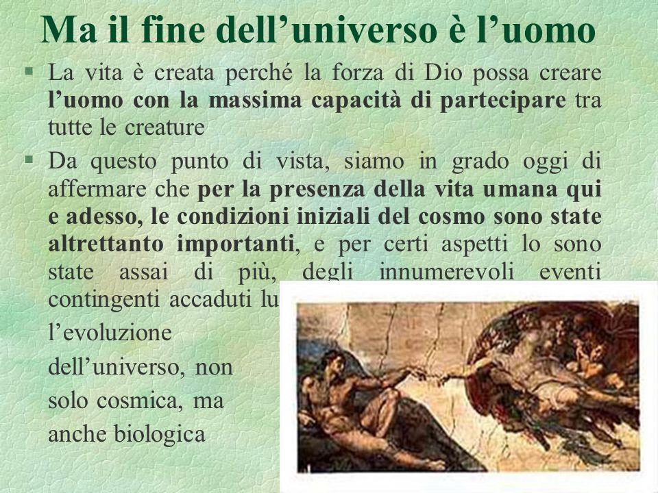 22 Ma il fine delluniverso è luomo §La vita è creata perché la forza di Dio possa creare luomo con la massima capacità di partecipare tra tutte le cre