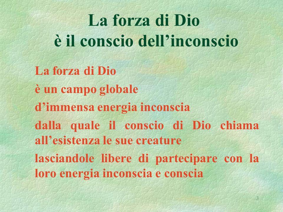 3 La forza di Dio è il conscio dellinconscio La forza di Dio è un campo globale dimmensa energia inconscia dalla quale il conscio di Dio chiama allesistenza le sue creature lasciandole libere di partecipare con la loro energia inconscia e conscia