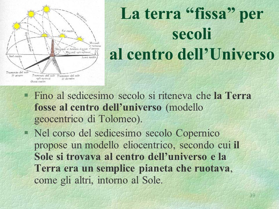 39 La terra fissa per secoli al centro dellUniverso §Fino al sedicesimo secolo si riteneva che la Terra fosse al centro delluniverso (modello geocentrico di Tolomeo).