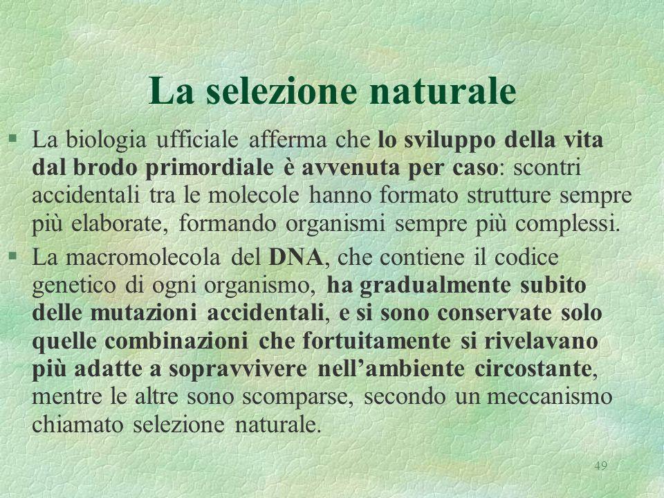 49 La selezione naturale §La biologia ufficiale afferma che lo sviluppo della vita dal brodo primordiale è avvenuta per caso: scontri accidentali tra le molecole hanno formato strutture sempre più elaborate, formando organismi sempre più complessi.