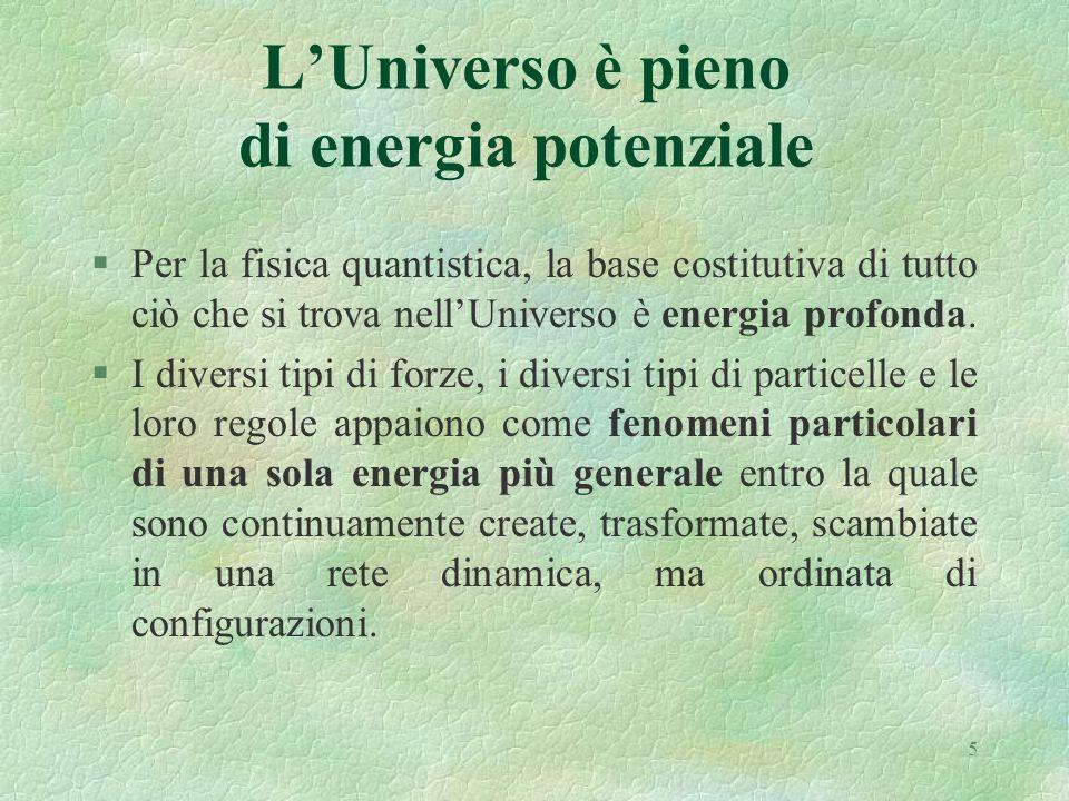 5 LUniverso è pieno di energia potenziale §Per la fisica quantistica, la base costitutiva di tutto ciò che si trova nellUniverso è energia profonda. §
